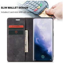 Load image into Gallery viewer, CASEME OnePlus 7 Pro Retro Wallet Case - Black