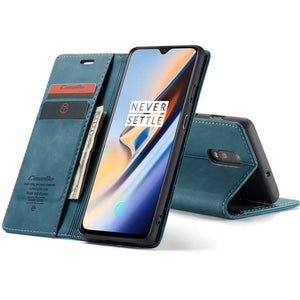 CASEME OnePlus 7 Retro Wallet Case - Blue