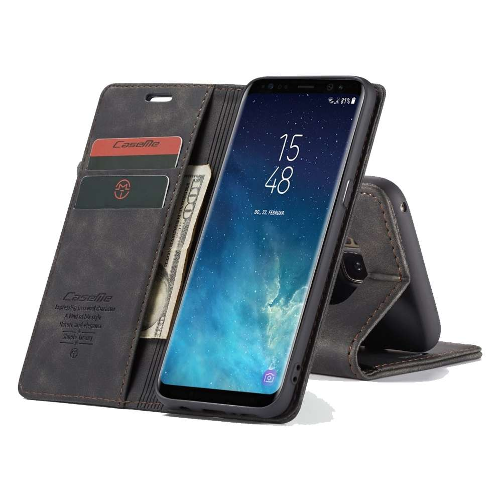 CASEME Samsung Galaxy S8 Plus Retro Wallet Case - Black