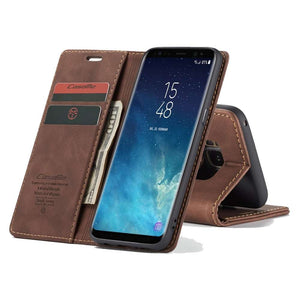 CASEME Samsung Galaxy S8 Retro Wallet Case - Coffee