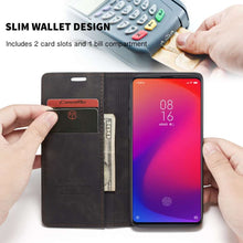 Load image into Gallery viewer, CASEME Xiaomi Redmi K20 Pro Retro Wallet Case - Black