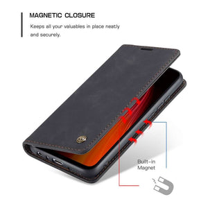 CASEME Xiaomi Redmi Note 8 Retro Wallet Case - Black