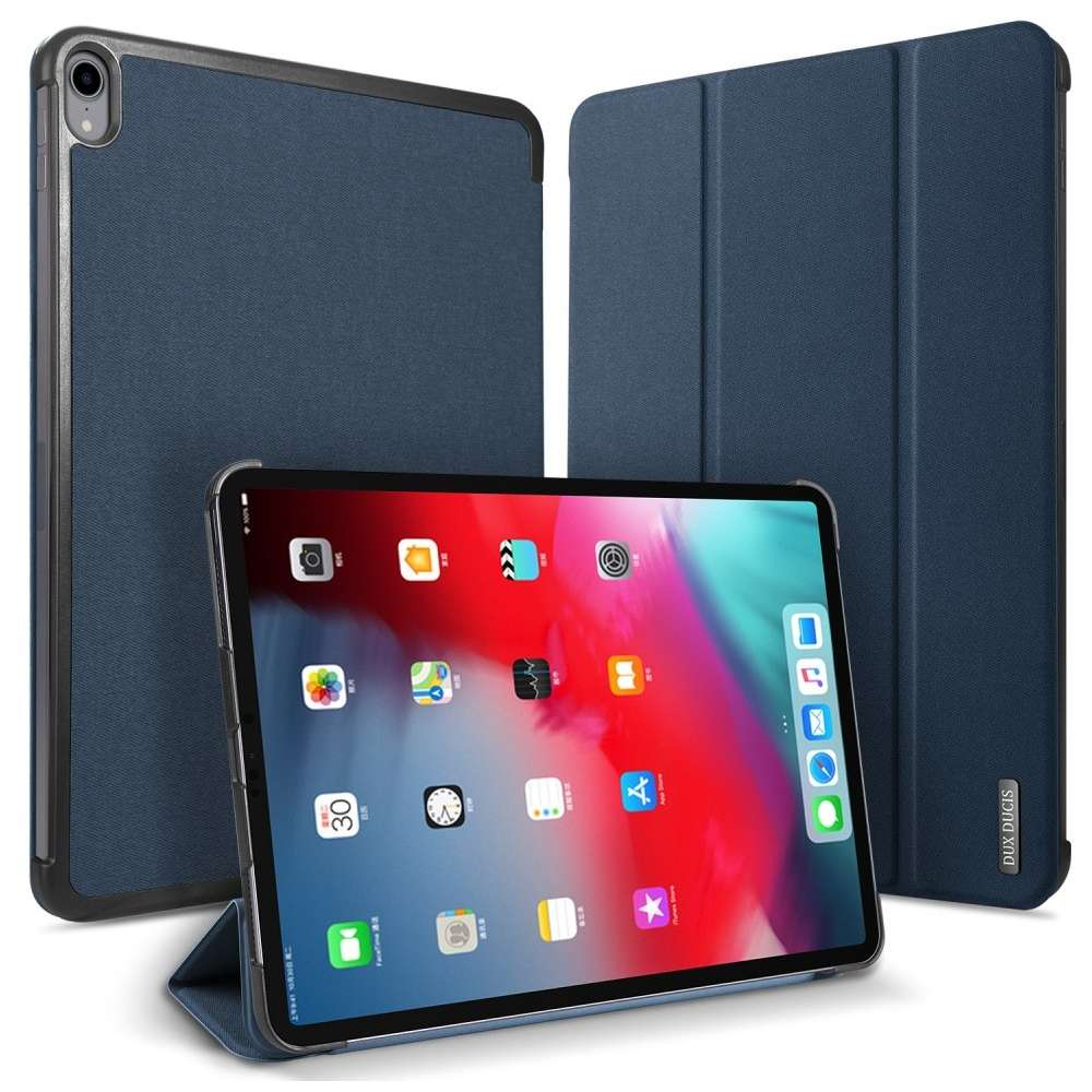 DUX DUCIS Apple iPad Pro 12.9 2018 Cloth Texture Smart Tri-Fold Case (Blue)
