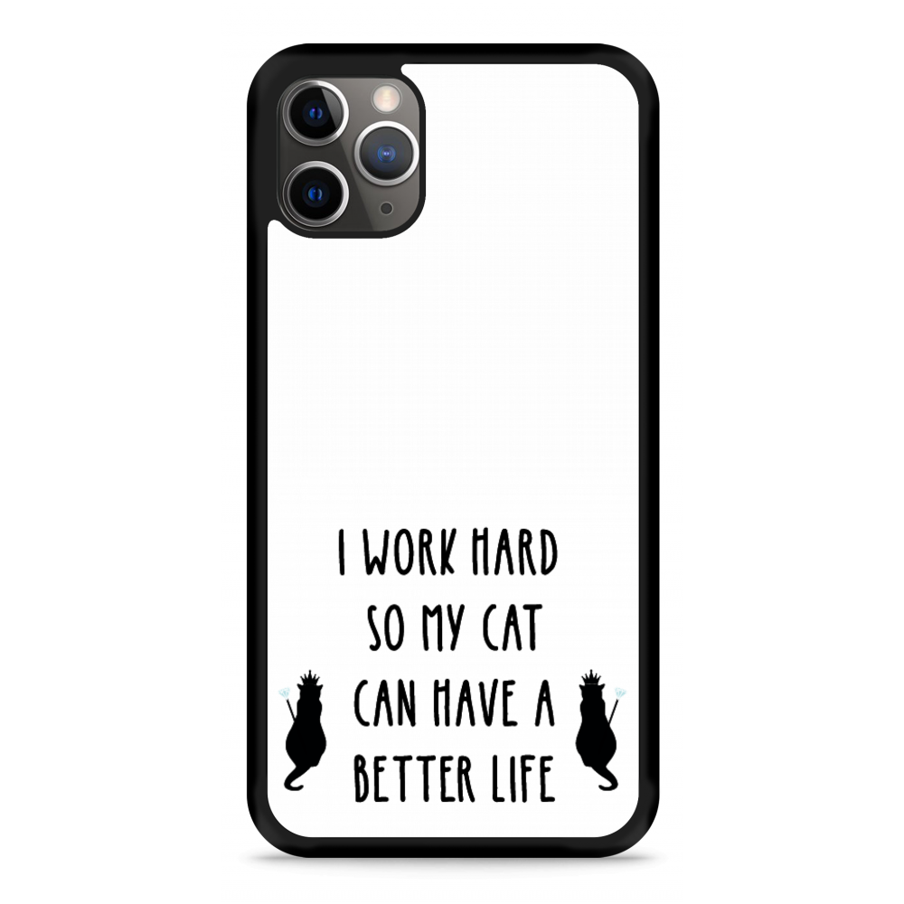 iPhone 11 Pro Hardcase hoesje Royalty Cat - zwart