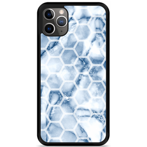 iPhone 11 Pro Max Hardcase hoesje Blue Marble Hexagon