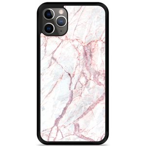 iPhone 11 Pro Max Hardcase hoesje White Pink Marble