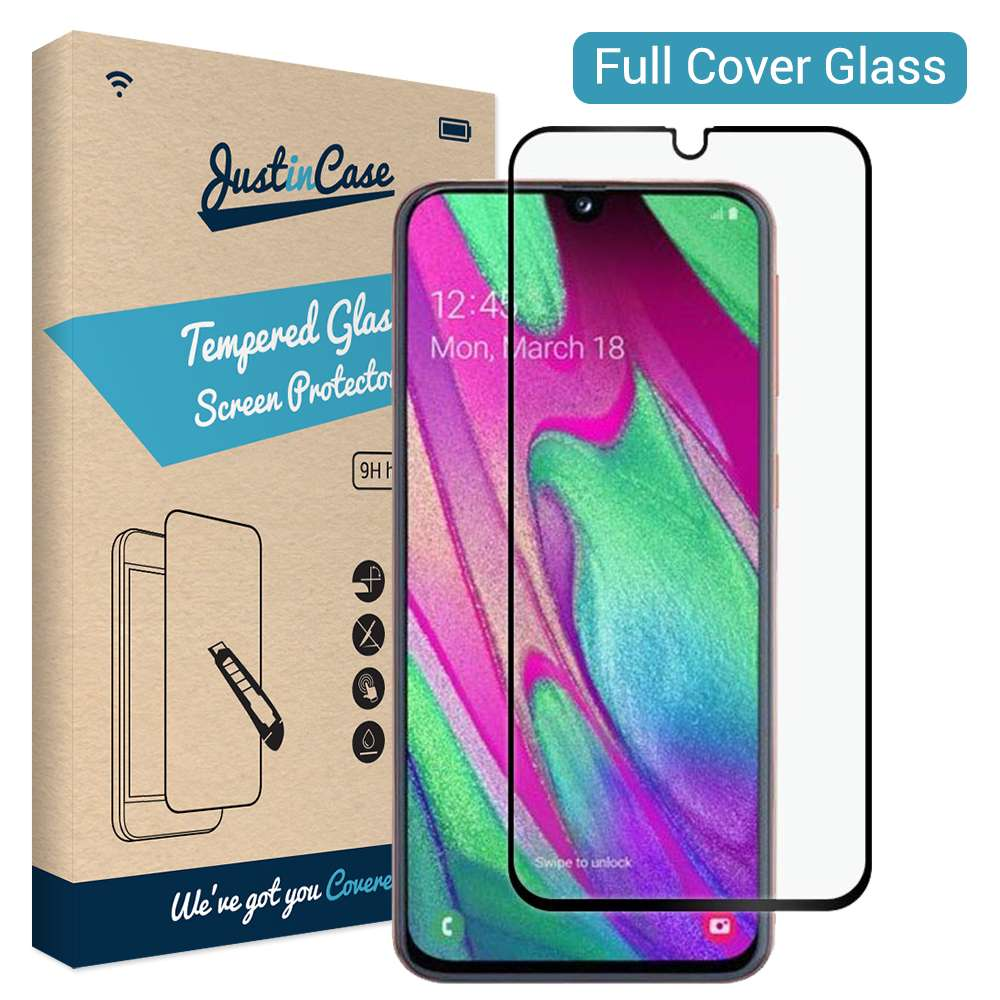 Just in Case Full Cover Tempered Glass Samsung Galaxy A40 (Black)