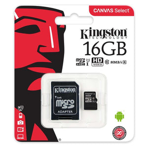 Kingston Canvas Select MicroSDHC Class 10 UHS-I - 16GB - inclusief SD adapter