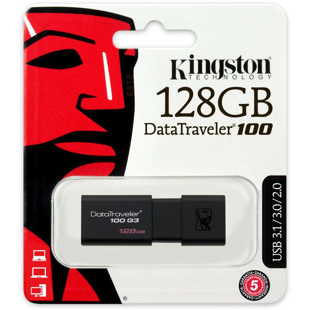 Kingston DataTraveler 100 G3 128GB USB Stick 3.0 Flash Drive - Black