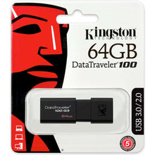Load image into Gallery viewer, Kingston DataTraveler 100 G3 64GB USB Stick 3.0 Flash Drive - Black