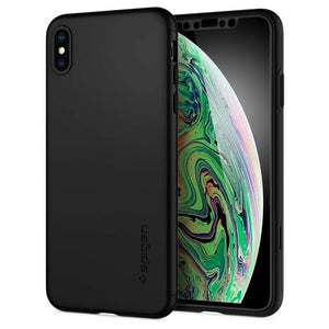 Spigen Thin Fit 360 Apple iPhone Xs Max Case met Tempered Glass (Black) 065CS24846