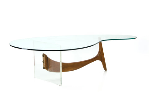 Lucite - Wood - Glass Coffee Table | Kagan