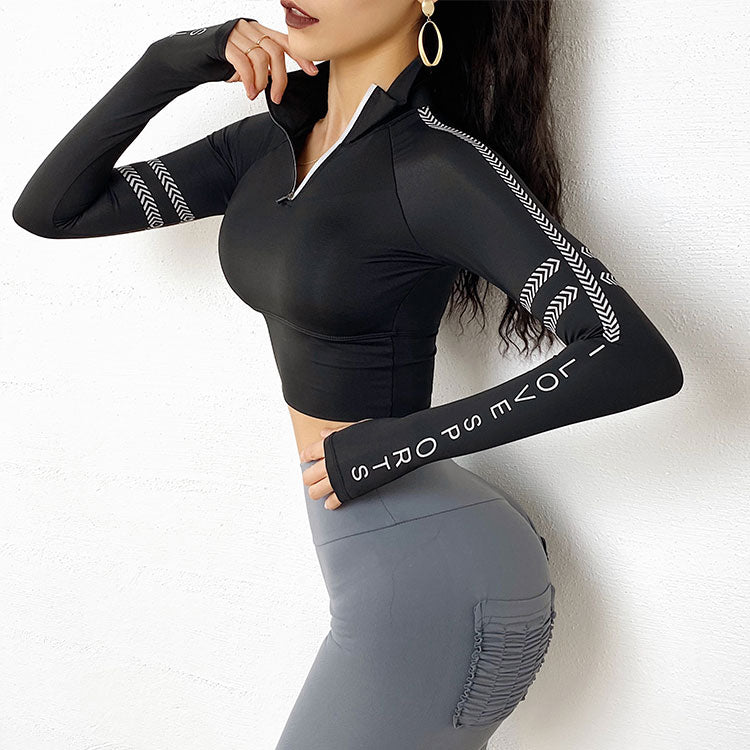 Lucy Half Zipper  Workout Tops - WoMensTrendzz