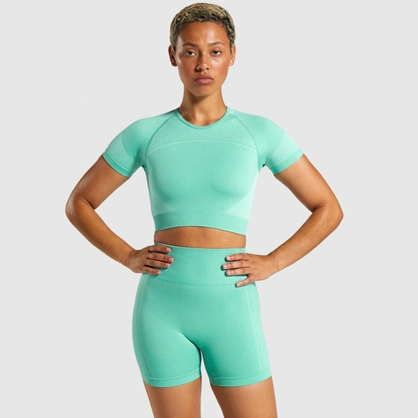 THALLIA Yoga Shorts Set 2pc. - WoMensTrendzz