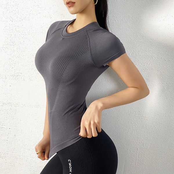 Aqua Seamless Yoga Shirts - WoMensTrendzz