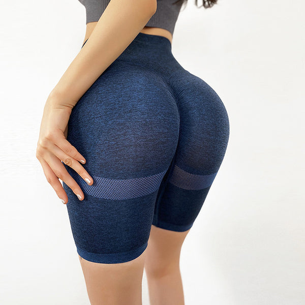 Slim Fit High Waist Yoga Shorts - WoMensTrendzz