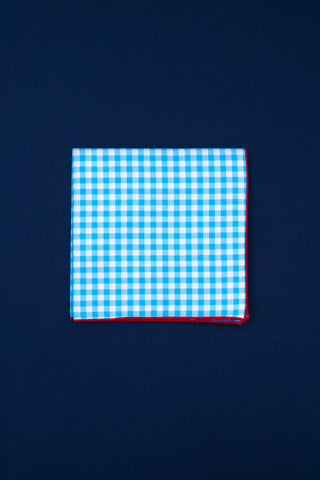 neon blue & white check