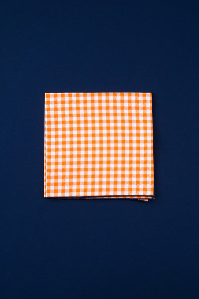 neon orange & white check
