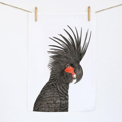 Carlos the Palm Cockatoo Tea Towel