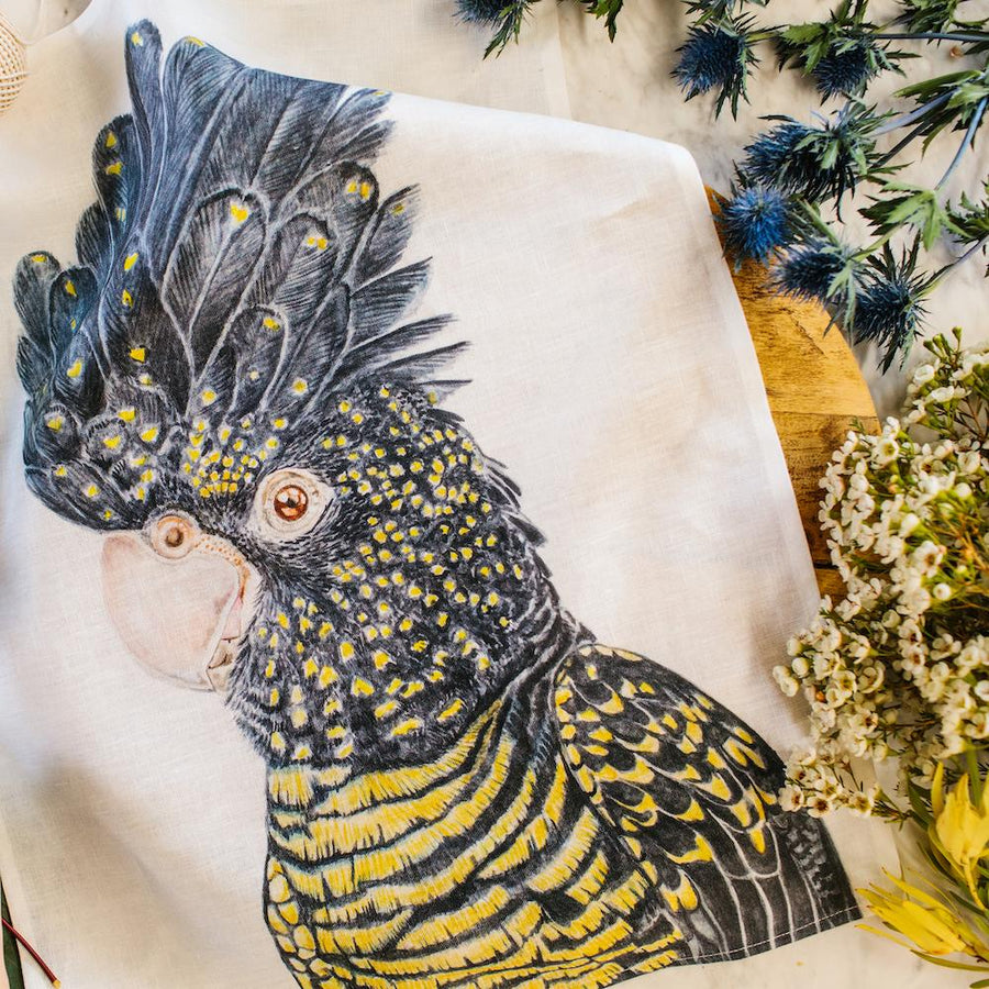 Lily the Red-Tailed Black Cockatoo Tea Towel