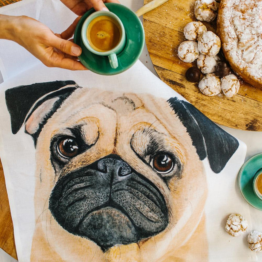 Pedro the Pug Tea Towel