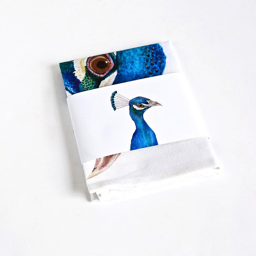 Penny the Peacock Tea Towel