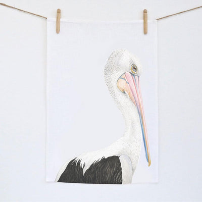 Pippa the Pelican Tea Towel