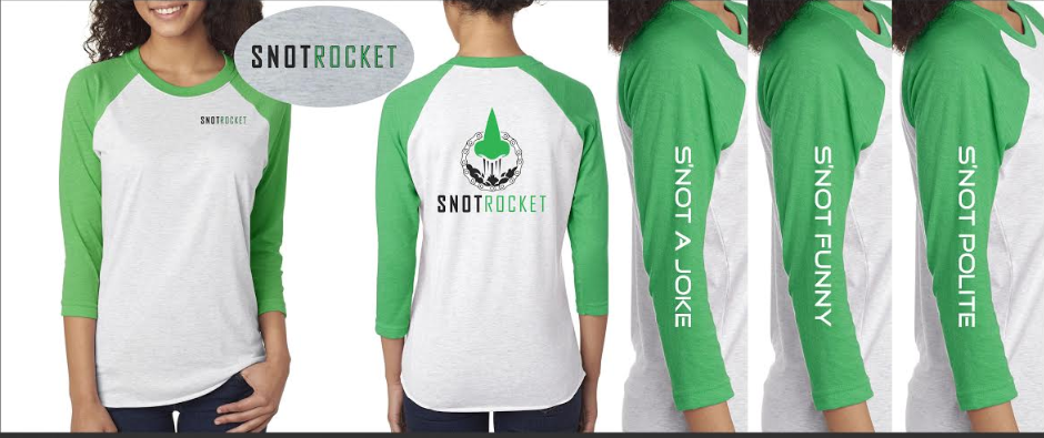 Large Baseball T - Heather w/ Green Sleeves