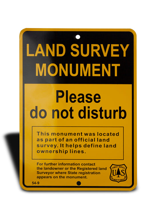 54-9 | Land Survey Monument | Please Do No Disturb | Forest Service | Department of Agriculture (50 PCS MINIMUM)