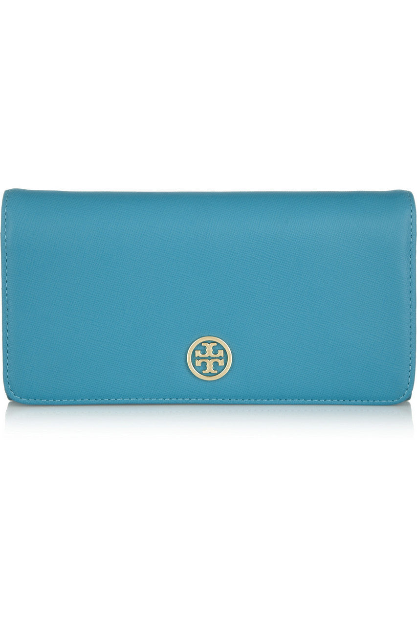 Tory Burch Robinson textured-leather wallet in Teal