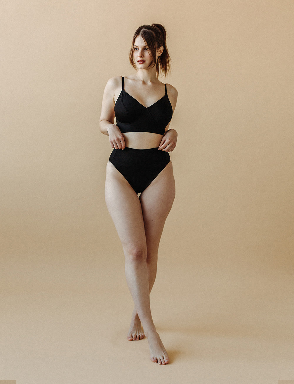 Swim Fold Over Bikini Bottom (Black)