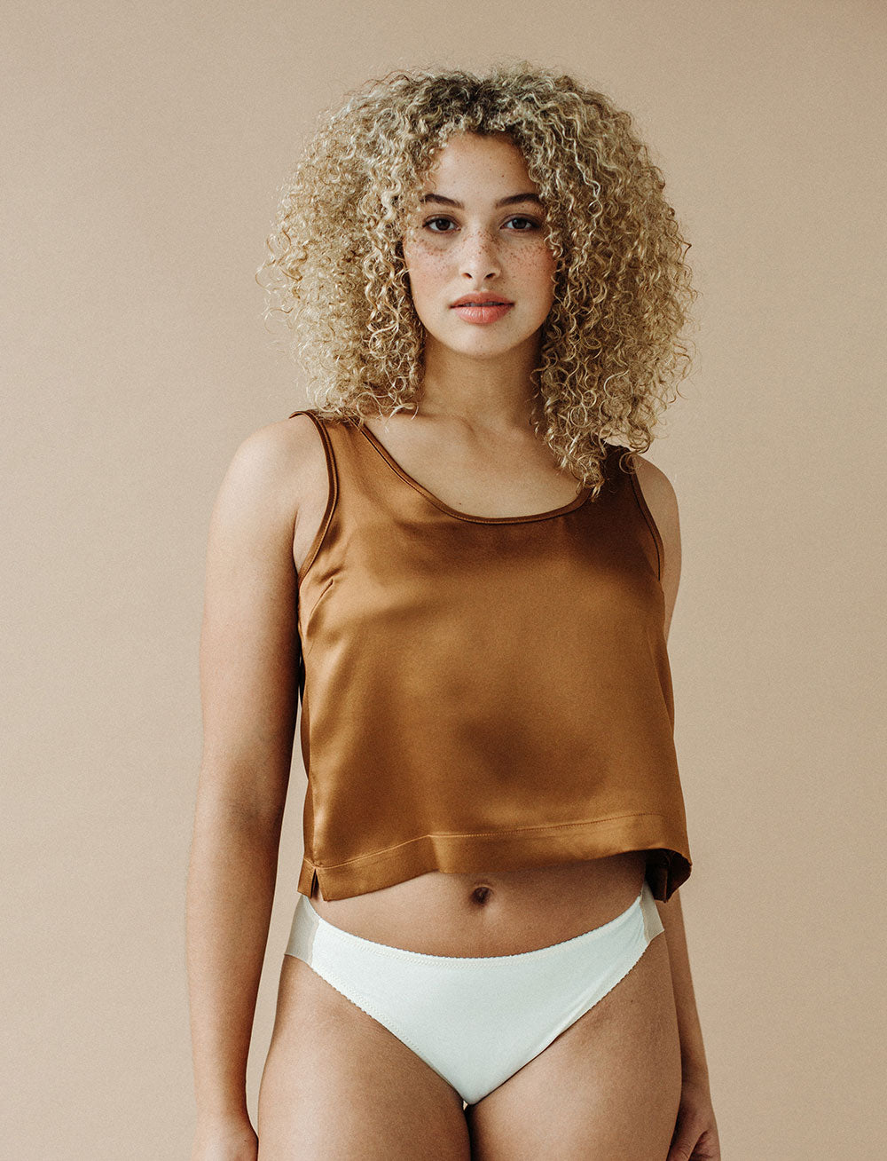 Silk Cropped Tank (Bronze)