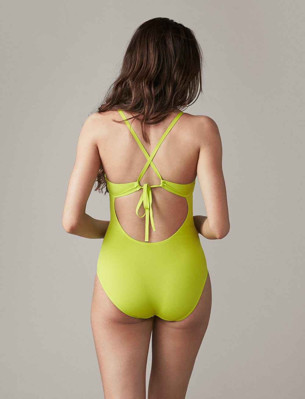 Swim Tie-Back One Piece (Lime)