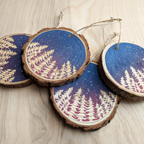 Night Stars Wood Slice Ornament