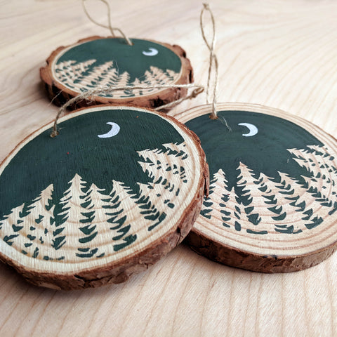 Forest Moon Wood Slice Ornament