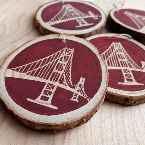 Golden Gate Wood Slice Ornament