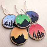 Painted Wood Slice Ornaments