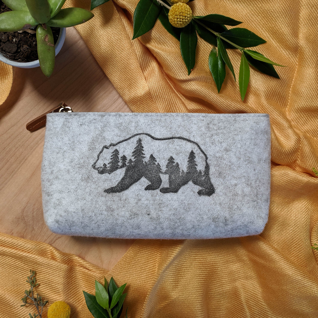Bear Zipper Pouch in Heather Gray