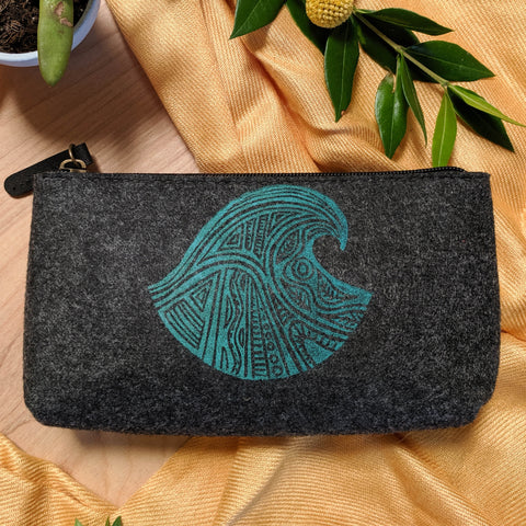 Wave Zipper Pouch in Slate Gray