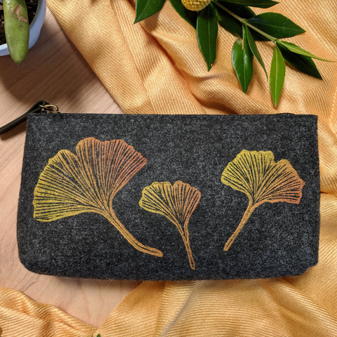 Ginkgo Pouch in Slate Gray