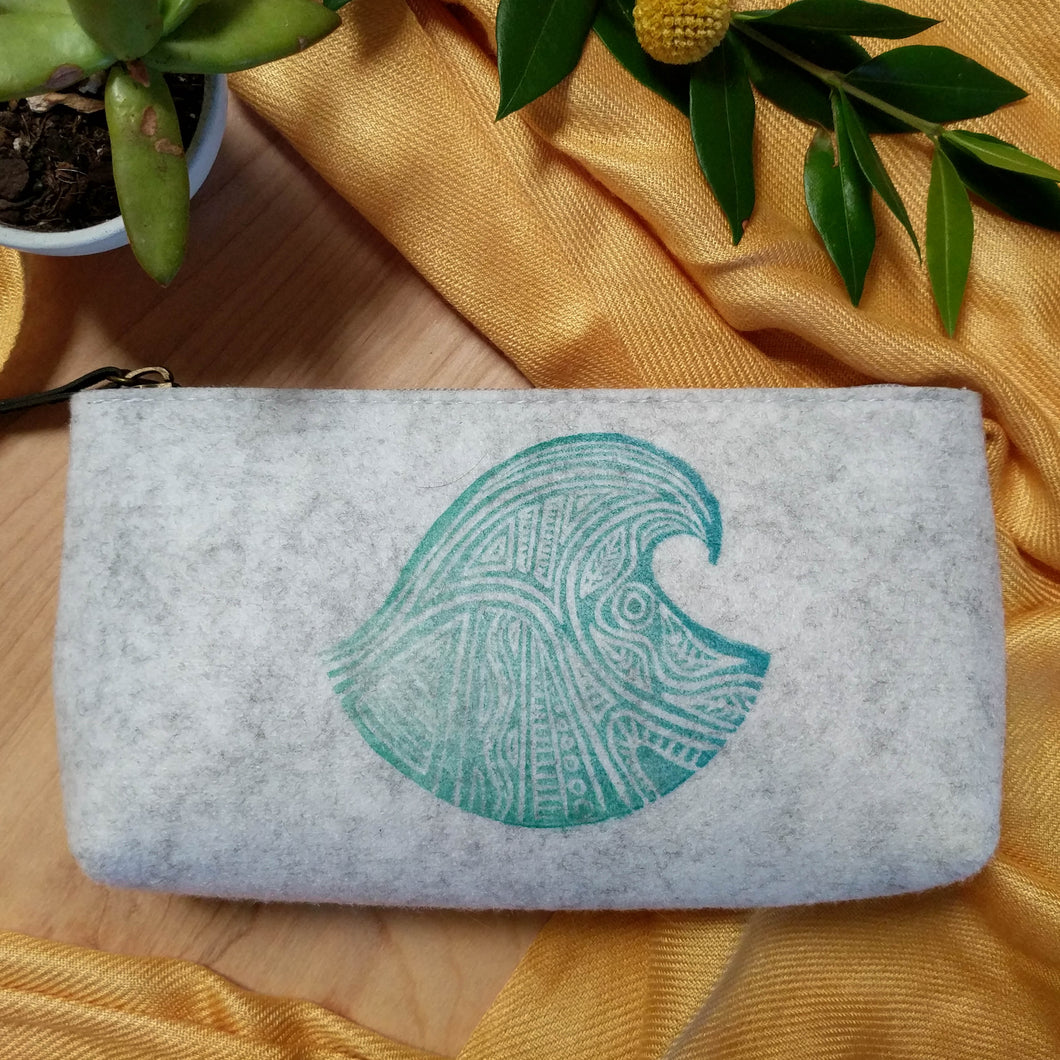 Wave Zipper Pouch in Heather Gray