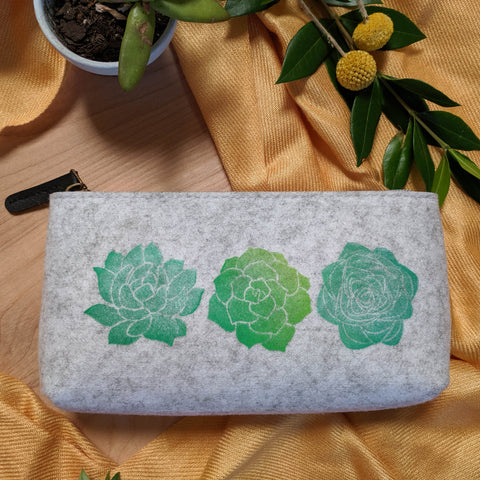 Succulent Zipper Pouch in Heather Gray