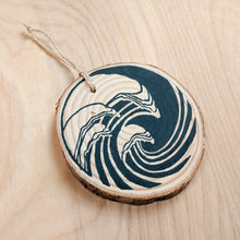 Load image into Gallery viewer, Indigo Wave Wood Slice Ornament