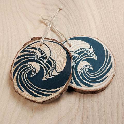 Indigo Wave Wood Slice Ornament