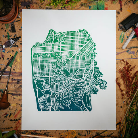 "Streets of San Francisco | 11x14"" Print in Teal-Green"