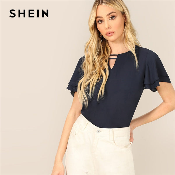 a8888f5e25 SHEIN Navy Strappy Keyhole Neck Layered Flutter Sleeve Top Chiffon Blouse Women  Summer Solid Office Lady ...
