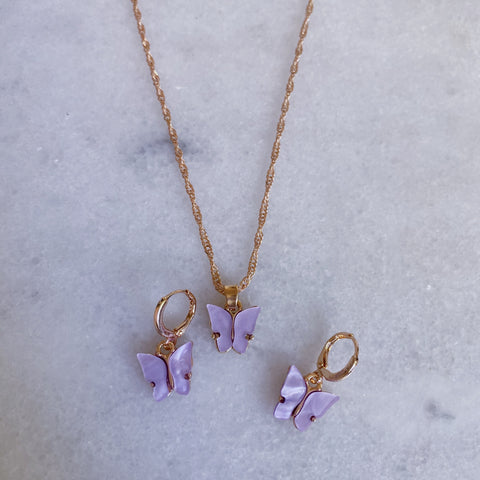 gold lilac butterfly set with ear huggies