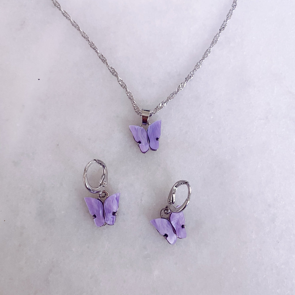 lilac butterfly set with ear huggies