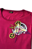 Independent fashion Clockwork embroidered T-shirt