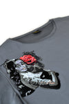 Independent fashion Santa Muerte embroidered T-shirt